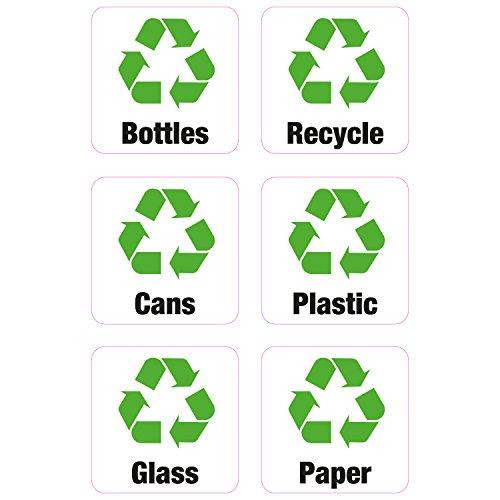 6x Recycling Mülleimer Abfalleimer Vinyl Aufkleber Shop Business Home Flaschen Papier Dosen Kunststoff (Recycling Kunststoff-aufkleber)