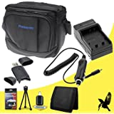Halcyon Brand 600 mAH Charger with Car Charger Attachment Kit + Original Panasonic Lumix DMC-FZ70 Carrying Case + Memory Card Wallet + SDHC Card USB Reader + Deluxe Starter Kit for Panasonic Lumix DMC-FZ70 Digital Camera and Panasonic DMW-BMB9