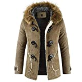 Luckycat Herren Winter New Kapuzenhaarkragen mit Langen Hörnern und Baumwollknöpfen Mantel Winterjacke Steppjacke Daunenjacke Parka Mäntel Jacken