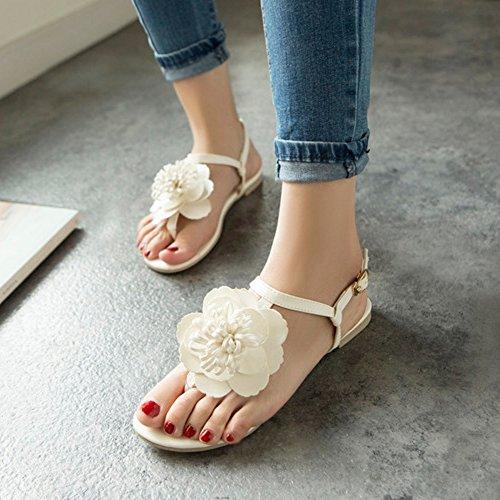 COOLCEPT Femme Mode Sandales Sangle De Cheville Slingback Appartements Avec Fleurs Blanc