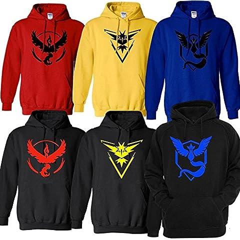 moneykitty Pokemon Go Team Logo Valor/Instinct/Mystic Simbolo Giacca con cappuccio/con cappuccio cappotto - Red Mystic Jacket