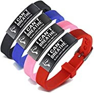 VNOX I Cant Breathe Black Live Matters Anti-Racism BLM Movement Silicone Sport Bracelet Wristband