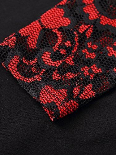 DJT Damen Langarmshirt Bluse V-Ausschnitt Kragen mit Floraler Spitze Schwarz-Rot