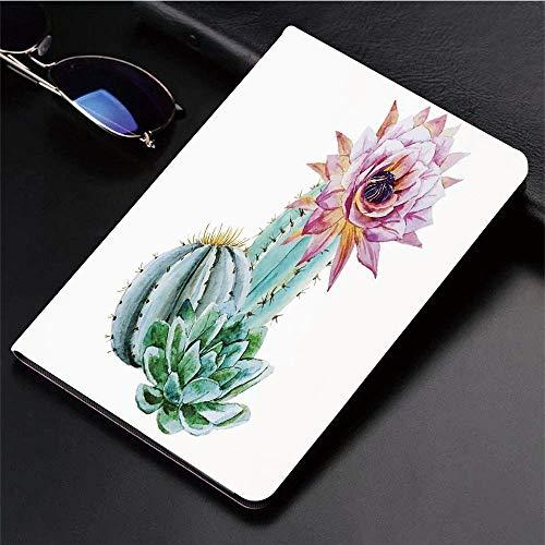 druckter iPad 9.7-Hülle,Kaktus-Dekor, Kaktus-Spitzen-Blume in heißem mexikanischem Wü,Leichtes Anti-Scratch-Shell Auto Sleep/Wake,Rückseite Schutzabdeckung iPad9.7