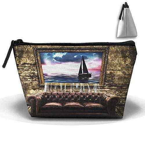 Trapezförmige Kosmetiktasche Alte Couch Neuheit Kulturbeutel Reise-Make-up-Tasche mit Reißverschluss -