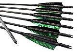 Arrowforge - Pfeile schwarze traditionelle Holzpfeile Camo Leitfeder (6er Pack) Bogenschießen
