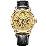 Armbanduhr für Herren, automatisch, mechanisch, Echtleder, wasserdicht, hohl, goldfarben