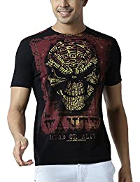 Huetrap Men's Wanted Dead Or Alive Skull Printed Black Tee