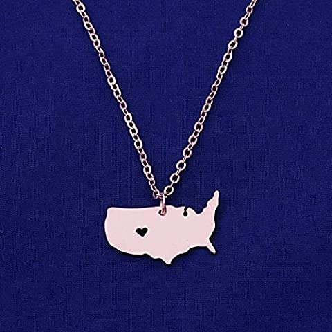 1pcs stainless steel map necklace,map charm,Stamping Blank Jewelry Supplies,hole diameter 1mm (United States-USA, rose gold)