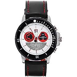 Leopard Shop TVG 469 Digital Quartz Sport Wristwatch Double Movt Men Watch Day Alarm Luminous LED Display Chronograph White Black