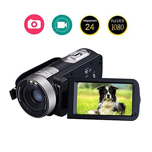 Videokamera Camcorder Full HD 1080p 24.0MP Digitalkamera 3,0″ LCD 16X Digitales Zoom Videorecorder Mit 270 Grad Drehung Bildschirm