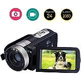 """Videokamera Camcorder Full HD 1080p 24.0MP Digitalkamera 3,0"""" LCD 16X Digitales Zoom Videorecorder Mit 270 Grad Drehung Bildschirm"""