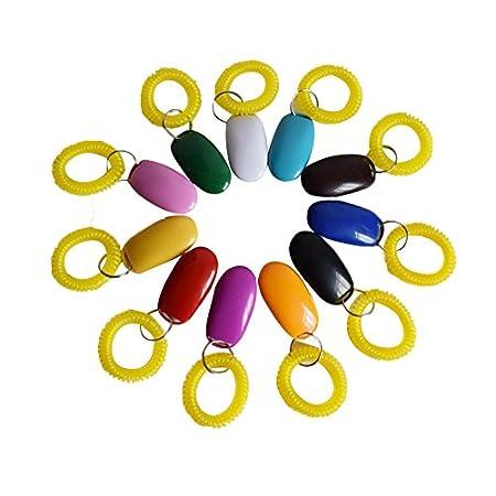 Gowind6 Haustier-Trainings-Clicker, 7 Stück, verstellbarer Sound-Schlüsselanhänger, Clicker, Hundetraining-Spielzeug