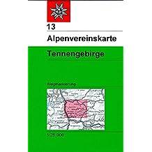 Tennengebirge: Topographische Karte 1:25.000 mit Wegmarkierungen (Alpenvereinskarten)