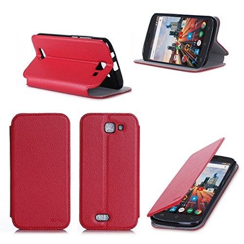 Ultra Slim Tasche Leder Style Archos 50E Helium Hülle Rosso Cover mit Stand - Zubehör Etui Archos 50E Helium Flip Case Schutzhülle (PU Leder, Red) - XEPTIO accessories