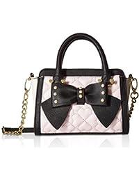 Betsey Johnson Bow Double Zip Top MIni Cross-body Satchel Shoulder Handbag - Blush Multi