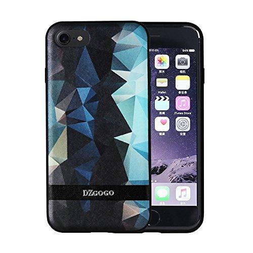 GR DZGOGO TOUCH Serie TPU + PU + PC Unregelmäßige Rhombus Texture Kombination Schutzhülle für iPhone 7 ( Color : Blue ) Black