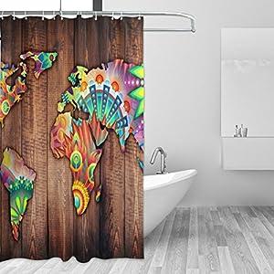 jstel Decor cortina de ducha de mapa del mundo abstracto flores y geométrica patrón madera impresión 100% poliéster 66x 72pulgadas para hogar baño decorativo ducha baño cortinas con ganchos de plástico