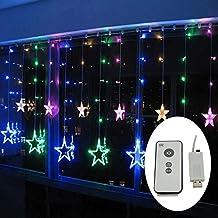 DC5V USB alimentata LED Stella tenda con telecomando 8 modalità luci di stringa led luce tenda catena stella di Natale decorazione lampada luci decorative multicolore