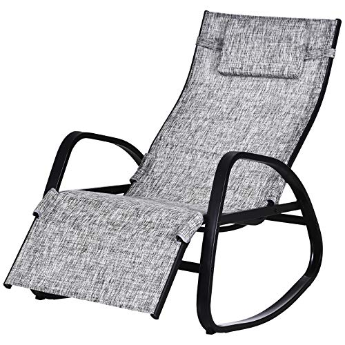 2 x Lounge Recliner Chairs Tweed Weatherproof Textoline Garden Beach Sun Black