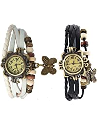 RTimes White and Black Vintage Designer Leather Set of 3 Multicolor Bracelet Butterfly Watch for Girls, Women