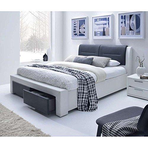 JUSTyou CASSANDRA-S Polsterbett Doppelbett Ehebett (BxLxH): 172x225x99 cm Weiß Schwarz