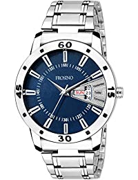 Frosino Mens Fashion Analogue Day and Date Function Watch with Blue dial and Stainless Steel strap-FRAC101838