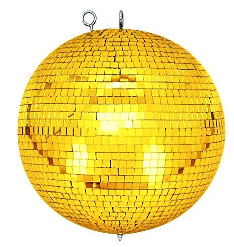 Bola de espejos con ojal de seguridad,30cm, dorada, para discoteca