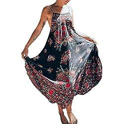 Minetom Vestido Para Mujer Boho Cabestro Sin Mangas Imprimen Retro Floral Del Partido Vestido de Playa Maxi Dress Multicolor ES 40