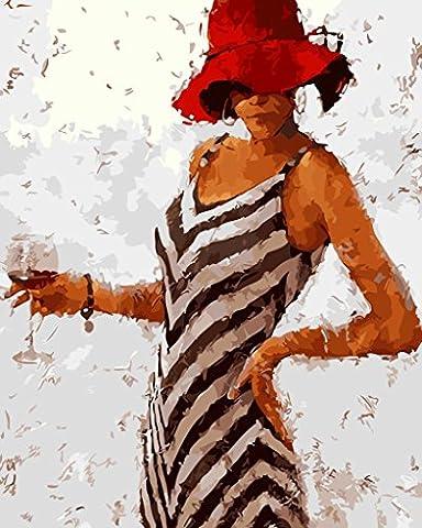[ Holzrahmen oder nicht] Malen nach Zahlen Neuerscheinungen Neuheiten - DIY Gemälde durch Zahlen, Malen nach Zahlen Kits - Schönheit Schmecken 16 * 20 Zoll - digitales Ölgemälde Segeltuch Wand Kunst Grafik für Heim Wohnzimmer Büro Decor Decorations Geschenke - DIY Farbe durch Zahl DIY Segeltuch-Kit für Erweiterte Erwachsene Kinder Senioren Junior - Neue