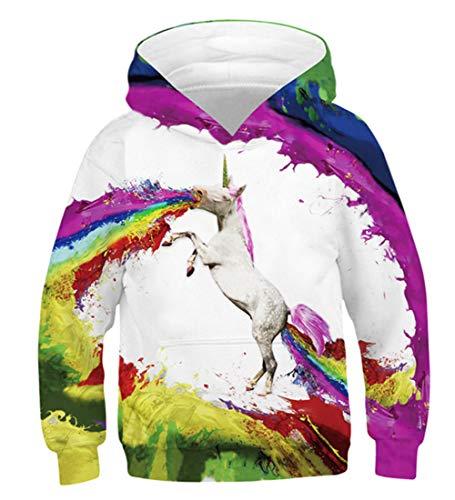 Idgreatim Unisex Pullover Jungen Hoodies 3D Oansatz Hoody Lässig Stilvoll Feuer Mädchen Pocket Hoodie Schwarz S