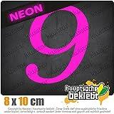 KIWISTAR Zahl 9 - Zahlen Nummern 10 x 8 cm IN 15 FARBEN - Neon + Chrom! Sticker Aufkleber