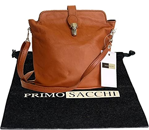 Italian Soft Leather Hand Made Small Tan Cross Body or Shoulder Bag Handbag. Includes a Branded Protective Storage Bag