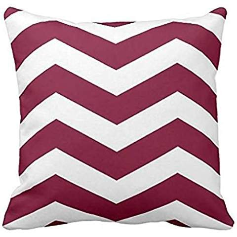 Modern Chevron Stripes in Cranberry Red and White Pillow case 20*20
