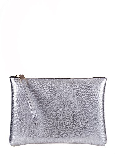 GUM BY GIANNI CHIARINI BORSA POCHETTE A MANO LATTICE ARGENTO, 4052.GUM