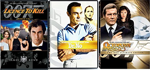 cial Edition James Bond Dr. No Sean Connery & Licence to Kill Timothy Dalton DVD 007 Roger Moore Triple Action Feature Bundle ()