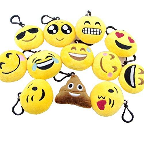 Portachiavi con faccine emoji Set di 12 - Portachiavi cuscini dolci carini morbidi & peluche gialli - divertenti per feste di bambini - Facili da installare su zaini, borse, telefoni & altre cose