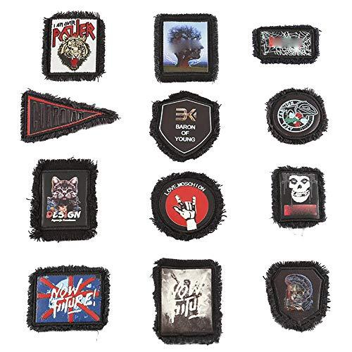Juland 12 PCS Grat-Patches drucken Gestickter Rucksack Deko-Patches für Männer, Frauen, Jungen, Mädchen, Kinder -