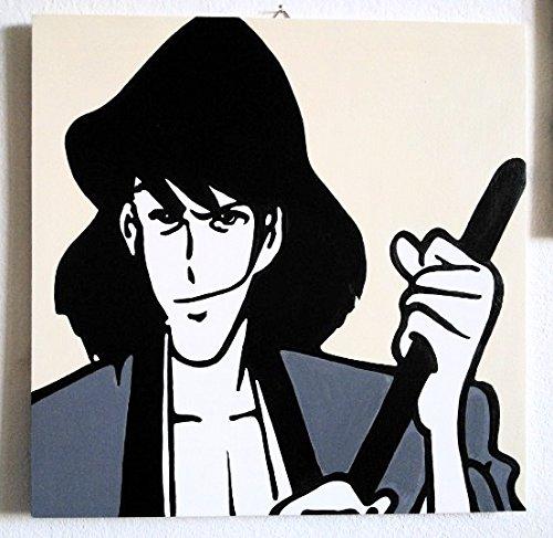 GOEMON - EDGAR DE LA CAMBRIOLE ( RUPAN, WOLF, LUPIN III 3rd ) Tableaux moderne peinte par l'artiste Fratta - décorative acrylique sur bois - effet pop art moderne - prêt à accrocher - (FORMAT 50 X 50 CM)