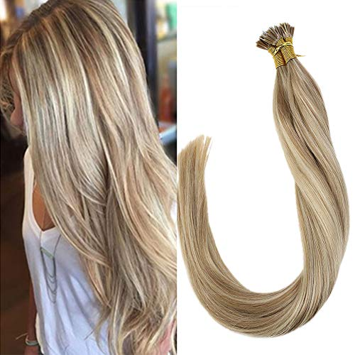 LaaVoo 18 Zoll Balayage Aschblond Hervorgehoben mit Gebleichtes Blond Pre Bonded Gerades Haar Verlängerungen Nano Ring Hair Extension 50Gramm/50Strähne #P18/613