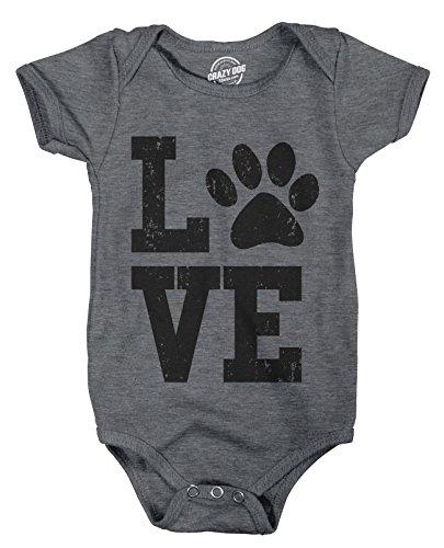 eeper Love With Paw Baby Bodysuite Adorable Pet Kitty Puppy Infant Clothes -3-6m - Baby-Jungen - 3-6 Months (Wie Man Einen Creeper)
