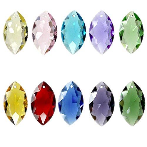 Fushing 10Pcs Pferd Auge gemischte Farben Kristall Perlen Tropfen Kronleuchter Anhänger Prismen Suncatcher Fenster hängende Verzierung Dekoration - Kronleuchter Für Kristall-perlen
