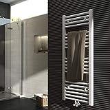 Badheizkörper 1000x400mm 481 Watt Leistung Weiß Handtuchtrockner Heizkörper Bad Mittelanschluss