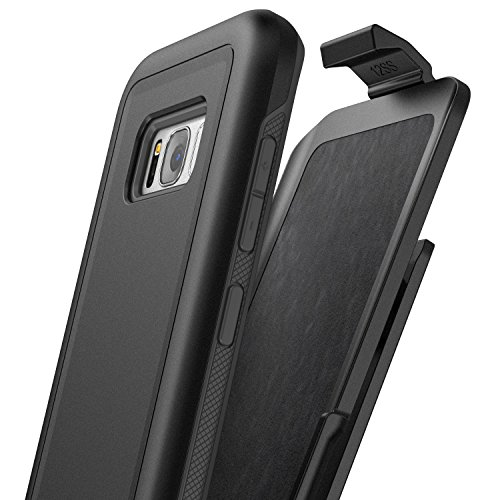Encased Galaxy S8 Plus Belt Clip Case (S8+) (Rebel Series) Dual Layer Impact Armor w/Secure Fit by (Samsung S8+) (Smooth Black) Otterbox Armor Serie