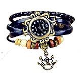 Quartz Stylish Weave WRAP Around Leather Bracelet Lady Woman Wrist Watch Crown