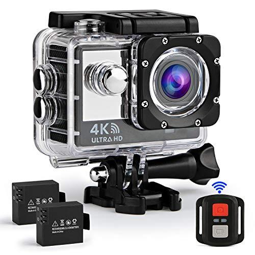 Ifecco Action Cam 4k WiFi 16MP Ultra HD Sport Action Camera Impermeabile 30M Wide View Angle 170 ° con Due 1050mAh Batterie Dual Screen Telecomando e Kit Accessori (Nero)
