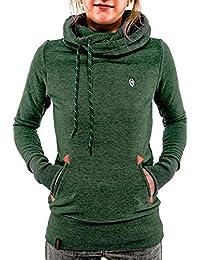 deaddfa88ca3 Landove Sweat a Capuche Femme Sport Pull Manche Longue Sweat Col Roulé  Hoodie Hauts Automne Hiver Chaud Uni Veste Sweatshirt…