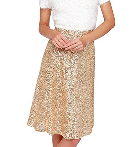 YOUJIA Damen A-Linie Pailletten Rock für Tanz Glänzend Knielang Taille Haute Partykleid Clubwear