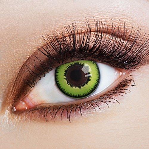 aricona Farblinsen Manga & Anime Kontaktlinse Lawngreen   - Deckende, farbige Jahreslinsen für dunkle und helle Augenfarben ohne Stärke, Farblinsen für Cosplay, Karneval, Fasching, Halloween Kostüme
