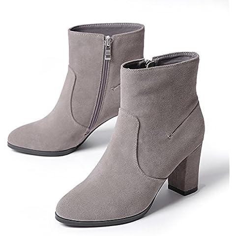 Rugoso con muelle corto y botas de otoño/ retro botas de tacón alto/ botas de trabajo